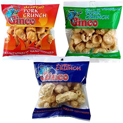 Ginco Pork Crunch 12 x 25g- Jalapeno, Salt and Vinegar, Salted. Seasoned Crispy Pork Puffs, high protein low carb, pub snack. (Assorted (3 x 4)12 Pack)