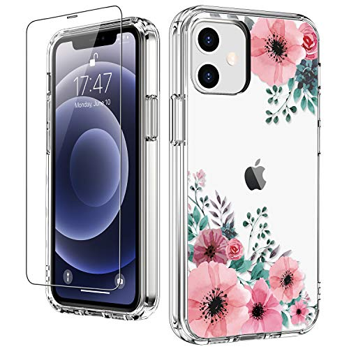 """LUHOURI for iPhone 12 Case,iPhone 12 Pro Case with Screen Protector,Pink Blossoms Floral Designs on Crystal Clear Cover for Women Girls,Protective Phone Case for iPhone 12/12 Pro 6.1"""""""
