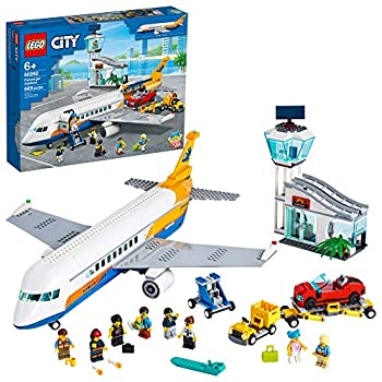 LEGO City Passenger Airplane 60262 with Radar Tower Airport Truck with a Car Elevator Red Convertible 4 Passenger and 4 Airport Staff Minifigures Plus a Baby Figure  669 Pieces