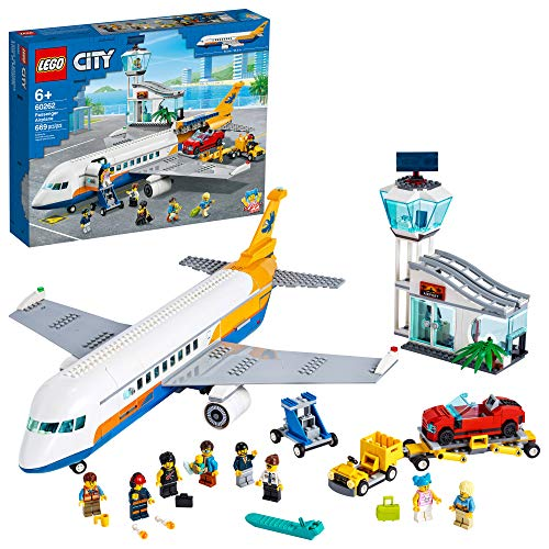 LEGO City Passenger Airplane 60262, with Radar Tower, Airport Truck with a Car Elevator, Red Convertible, 4 Passenger and 4 Airport Staff Minifigures, Plus a Baby Figure (669 Pieces)