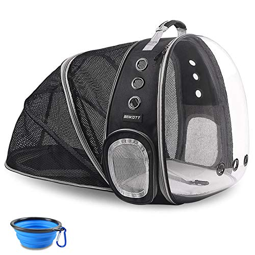 BEIKOTT Back Expandable Cat Backpack, Pet Dog Backpack Carrier for Small Cats Dogs and Birds,...