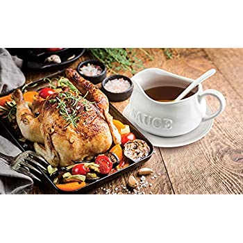 """24 Oz Gravy Boat, Tray and Ladle 