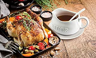 24 Oz Gravy Boat, Tray and Ladle | Ceramic White Gravy Boat With The Word