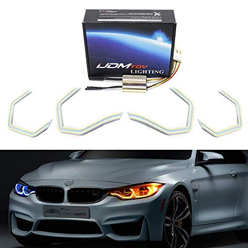 iJDMTOY 4pc 540-SMD Concept M4 Iconic Style Switchback Dual-Color LED Angel Eye Kit w/Relay Wirings Compatible With BMW 2 3 4 5 Series Headlight Retrofit