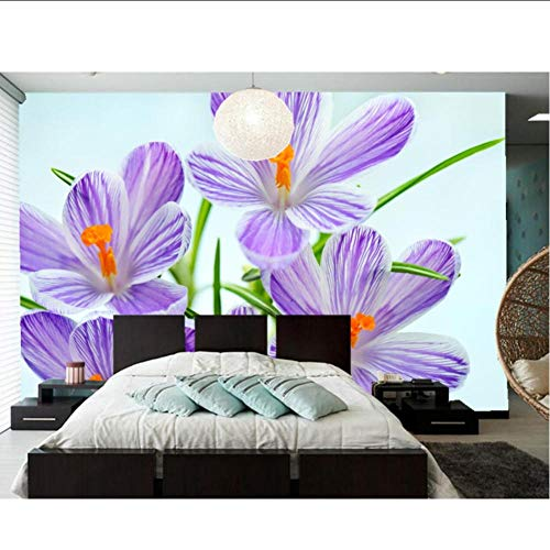 Krokozen Closeup witte achtergrond bloemen behang, woonkamer bank TV muur slaapkamer muurschilderingen muur 3D papier bloem MRQXDP Papel de Parede 100x170cm