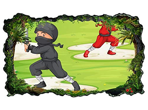 3D Muurtattoo kinderkamer cartoon Ninja strijd sport oorbellen jongen behang muur sticker wanddoorbraak sticker zelfklevend wandafbeelding muursticker woonkamer 11P826 ca. 162cmx97cm