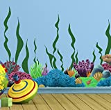 Create-A-Mural Coral Reef & Seaweed, Ocean Wall Decals, Undersea Decor Stickers for Kids Room (34) Underwater Sea Wall Stickers, Boys Girls Toddler Baby Nursery Bedroom, Playroom, Bathroom, Vinyl Art