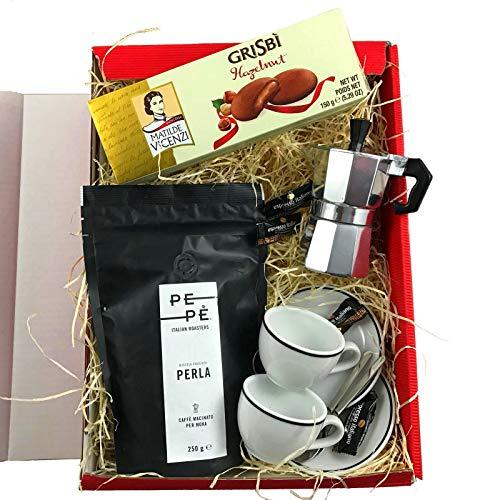 Geschenkset Triest Italien Geschenkkorb mit Espresso Maschine, Kaffee, Tassen und italienischen Spezialitäten