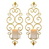 Sziqiqi Iron Wall Candle Sconce Holder Set of 2 Hanging Wall Mounted Pillar Candle Sconces Holder, Wall Sconces Decor for Bedroom Dining Room, Gold