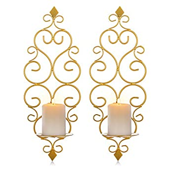 Sziqiqi Iron Wall Candle Sconce Holder Set of 2 Hanging Wall Mounted Pillar Candle Sconces Holder Wall Sconces Decor for Bedroom Dining Room Gold