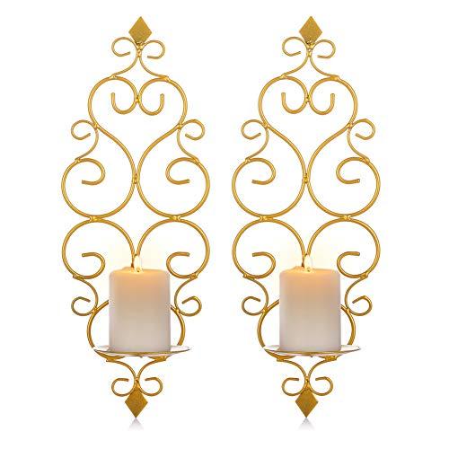 Sziqiqi Wandkerzenhalter Wandleuchter Kerzenständer Kerzenhalter Kerzenleuchter aus Metall 2er Set, Wandteelichthalter Säulenhalter für Teelichter Stumpenkerze Wohnzimmer Schlafzimmer, Gold