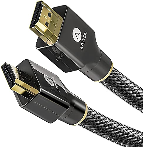 4K HDMI Cable 6 Foot – Atevon High Speed 18Gbps HDMI 2.0 Cable – 4K HDR, 3D, 2160P, 1080P, Ethernet – 28AWG Braided HDMI Cord – Audio Return(ARC) Compatible with UHD TV, Blu-ray, PS4 3, PC, Fire TV