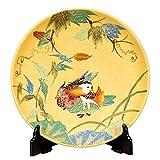 九谷焼 10号 飾皿 金彩おしどり |陶器 飾り皿 絵皿 大皿 贈答品 新築祝い 開店祝い 叙勲祝いギフト 記念品