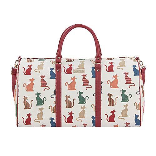 Signare Tapiz – Grande Bolsas de Viaje Mujer/Bolsa Deporte para Mujeres con diseños de William Morris (Gato descarado)
