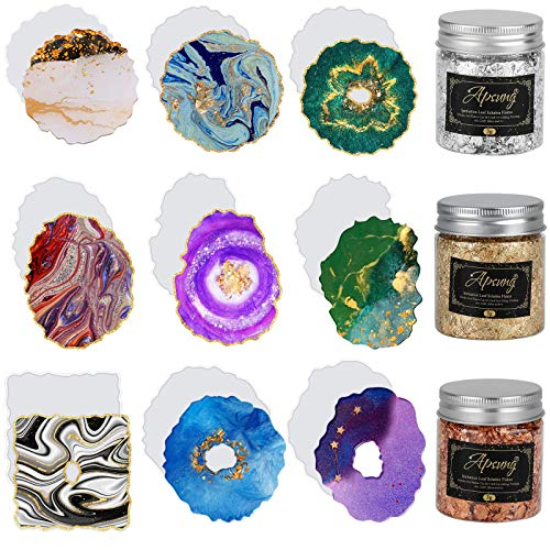 Apsung 9 PCS Resin Coaster Molds, Druzy Geode Silicone Molds with 3 Bottles Gold Foil Flakes, Agate Epoxy Casting Art Coaster Mold for Resin Casting, Making Resin Crafts, Cup Mats, Home Decoration