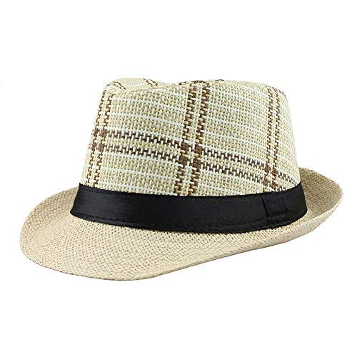 Yidajiu zonnehoed voor zomer strandhoed grote rand jazz zonnehoed casual unisex panama hoed stroh vrouwen mannen pet Adjustable beige