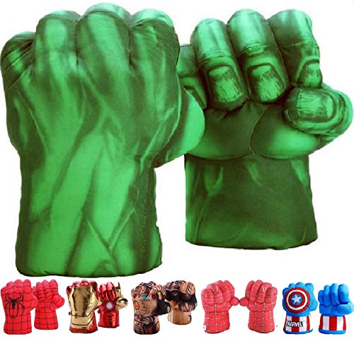 FAIRZOO Hulk Smash Hands Fists Big Soft Plush Gloves Pair Costume Green