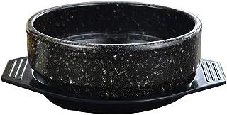 Cuenco de Piedra Dolsot Coreano con Bandeja, Cacerola de cerámica, Olla Caliente para bibimbap y Sopa Jjiage Comida Coreana Negra 1.05 Cuartos
