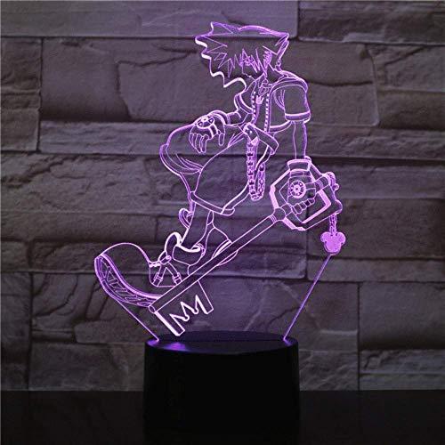 USB 3D Led Night Light Sora Figura Multicolor RGB Luces decorativas Niños Niños Regalos para bebés Juego Kingdom Hearts Lámpara de mesa Mesita de noche