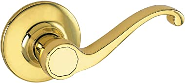 Design House 775338 Scroll Dummy Lever, Left or Right Handed Doors, Polished Brass