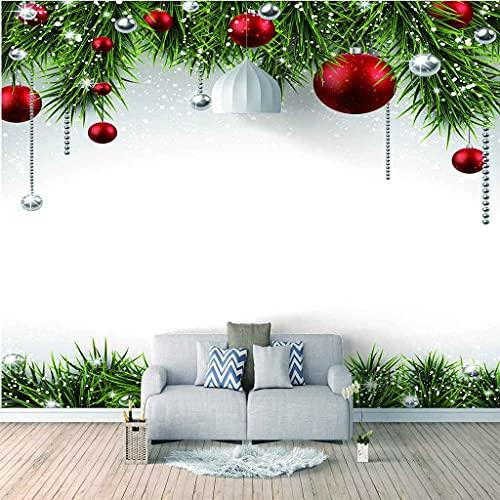 FVGKYS Papel Pintado Autoadhesivo Moderna Bola Colgante De Navidad Roja Papel Tapiz Sala De Estar Dormitorio Tv Sofá Fondo Pintura De Pared Decoración Del Hogar Murales Personalizado 3D 250x175cm