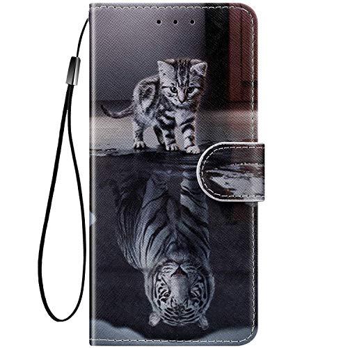 Felfy Kompatibel mit Huawei Mate 10 Lite Hülle Bunte Painted Muster Schutzhülle,Tasche für Huawei Mate 10 Lite Handyhülle Magnet Klapphülle PU Lederhülle mit Kartenfach/Standfunktion - Katze - Tiger