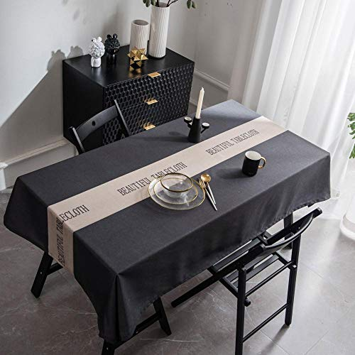 JUZSZB Mantel Rectangular De Antimanchas,Carta Impresión Impermeable Grueso Rectangular Cafetería Restaurante Mantel,Gris,135 * 200 Cm