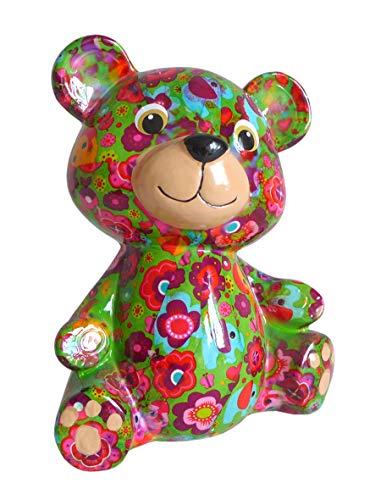 Pomme Pidou Spardose Bär grün mit Elefanten Sparbüchse Teddy Sparschwein Geldgeschenk Geschenk