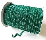 Beyond Trim Glitter Elastic Ribbon - 5/8 Inch 5 Yard Stretch Flat Band for Sewing Craft DIY Hair Ties Headbands Hunter Green
