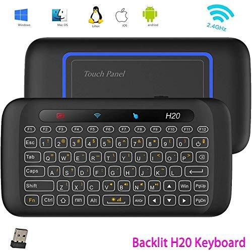 Mini Tastatur, Kabellose Tastatur,Linstar H20 2.4GHz Full Touchpad Mini-Tastatur mit großen Touchpad Fernbedienung für Android TV Box, Windows PC, Laptop, HTPC, IPTV, Raspberry Pi, XBOX 360, PS3, Ps4