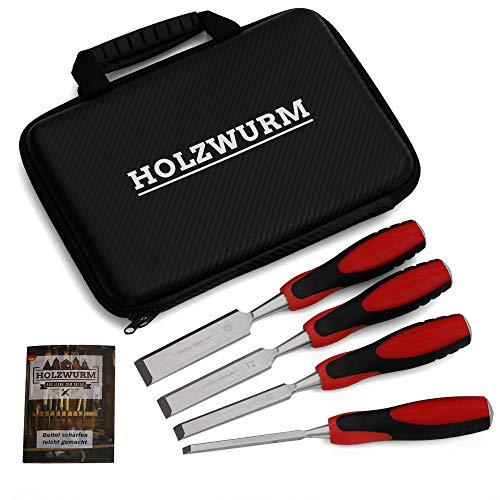HOLZWURM Set di scalpelli professionali per legno, 4 scalpelli per la lavorazione del legno (6mm, 13mm, 19mm, 25mm)