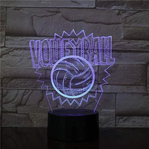 Regalo De Luz De Noche 3D Para Niños Lámpara De Ilusión Led Lámpara De Voleibol 3D Lámpara De Escritorio De Mesa De Noche Creativa Led 7 Colores Atenuador Usb Lámpara De Mesa Led Habitación De Niño Pa