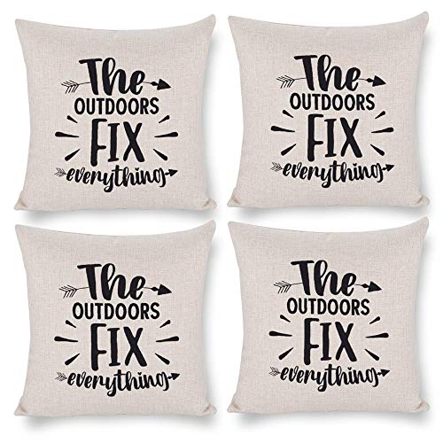 Pack 4,Pillow Covers 18x18 Set of 4,Throw Pillow Cases Home Decor 4pcs Best Grandpa Ever Farmhouse Square Pillow Cushion Pillowcase for Sofa Bedroom Car Patio Chair Nursery