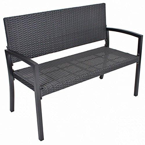 Banco De Dos Plazas Park San Remo aluminio trenzado de plástico Banco Jardín Banco de imitación de ratán negro asiento: Amazon.es: Jardín
