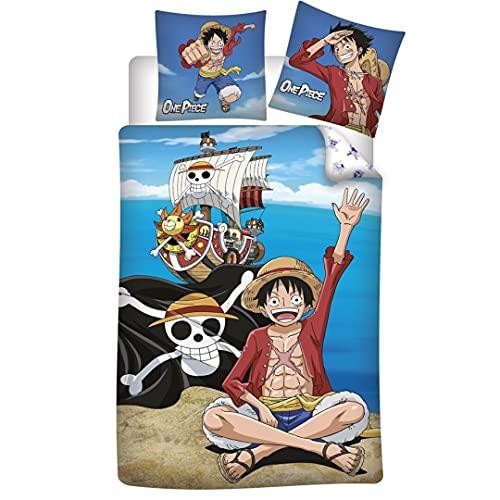 Juego de cama One Piece 100% algodón, funda nórdica de 140 x 200 cm y funda de almohada de 65 x 65 cm
