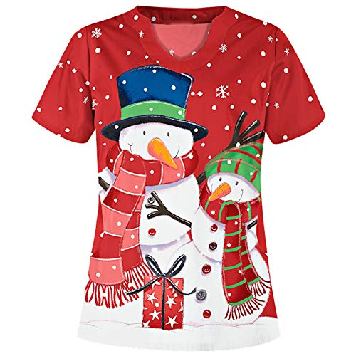 Women's Cute Scrub_Top V-Neck Workwear Thanksgiving Christmas Holiday Tops Blouse (X-Large, Red3)