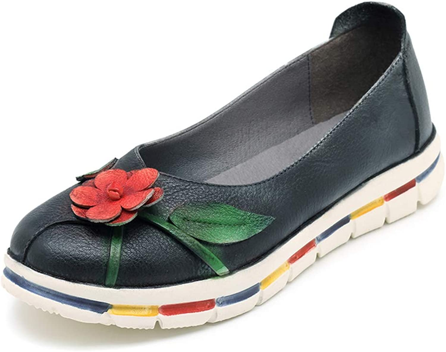 T-JULY Women Vintage Leather Flat shoes Loafers Retro Handmade Flower Slip On Casual Flats shoes