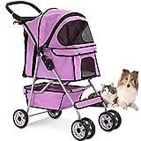 4 Wheels Pet Stroller Cat Dog Cage Stroller Travel...
