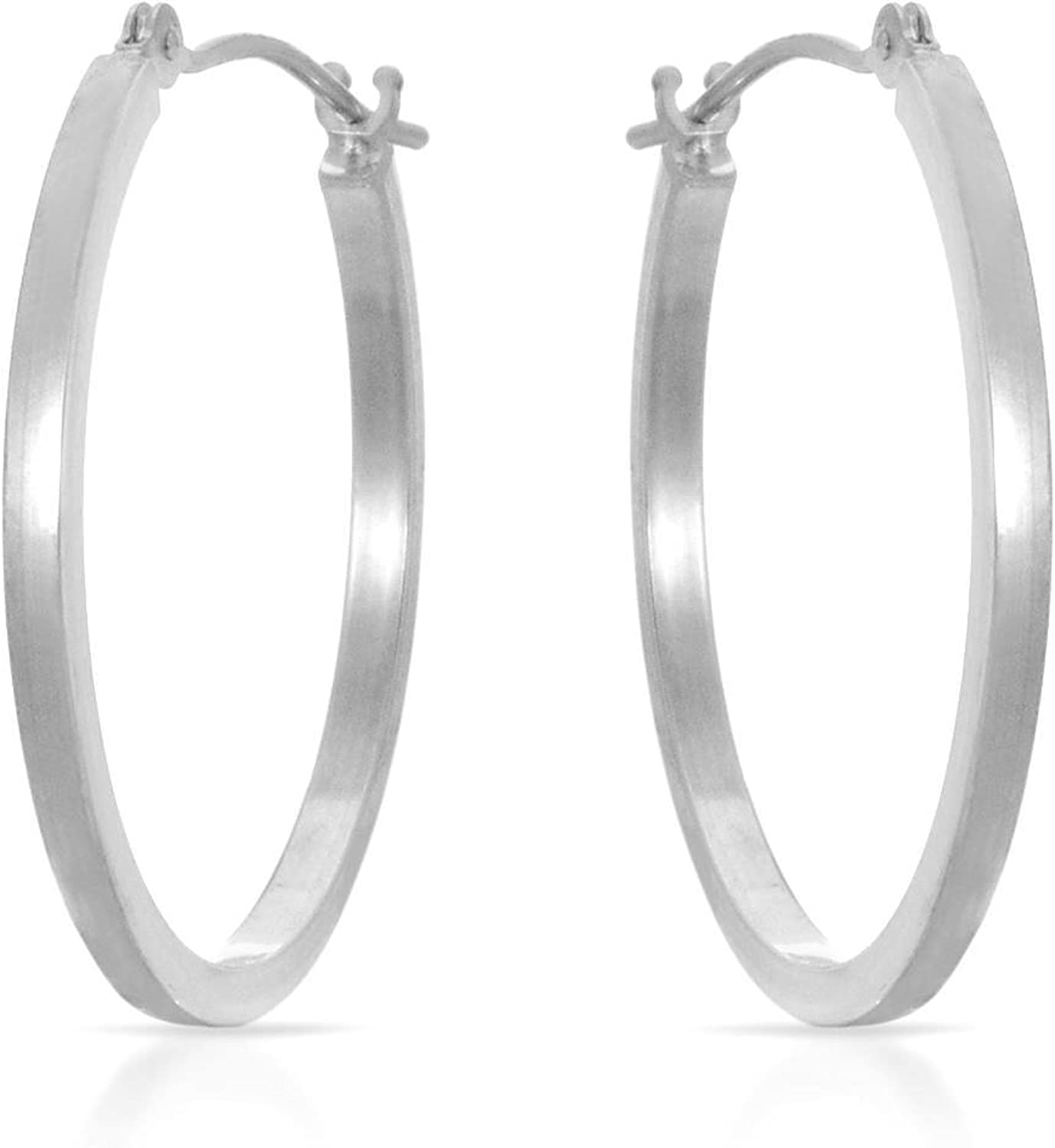 MCS sale Jewelry 14 Karat White Gold Complete Free Shipping Earrings Diame Tube Hoop Square