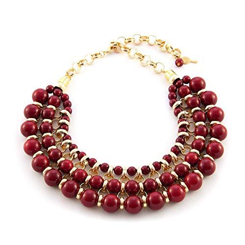 Collar corto para mujer. Gargantilla con bolas de resina y cadena de aluminio. Color Rojo.Regalo san valentin mujer