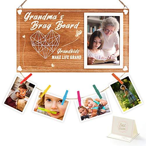 Grandma's Brag Board Grandkids Photo Frame, Grandma Gifts from Granddaughter & Grandson, Nana Grandmothers Picture Frame, Grandkids Make Life Grand Photo Holder with 6 Color Clips, 4X6 Vertical