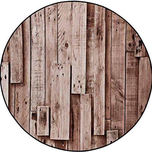 Wooden Polyester Area Rug Floor Mat for Bedroom Floor Round Vintage Barn Shed Floor Wall Planks Sepia Art Old Natural Plywood Lodge Image Print Grey Brown 4.2 ft in Diameter