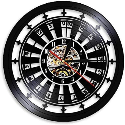 zgfeng Reloj de Pared de Casino, Cartel de Sala de Juegos, Mural, Reloj de Pared con Registro de Vinilo, Las Vegas 777, Juego de póquer, Naipes, Reloj de Ruleta