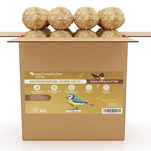 Natureflow Meisenknödel ohne Netz - Wildvogelfutter mit Nährstoffreichen Zutaten - Hochwertige Futterknödel für Vögel zur Ganzjährigen Fütterung - 100 Stück, 9kg Meisenknödel