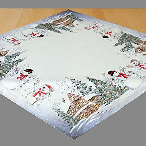 Kamaca Serie Schneemänner hochwertiges Druck-Motiv Weihnachtstischdecke Winter Weihnachten (Tischdecke 85x85 cm, Mehrfarbig)
