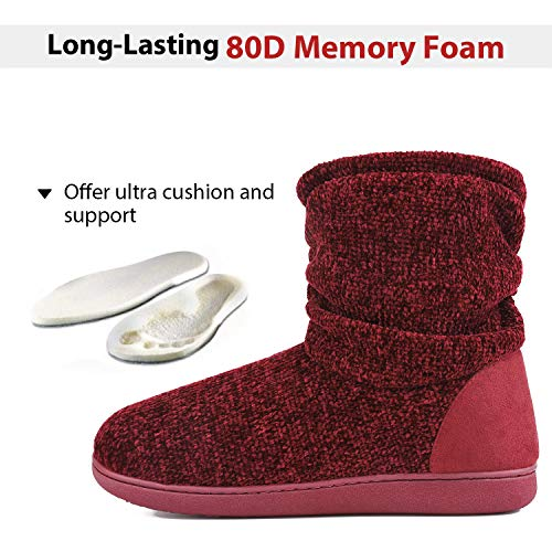 Ladies Bootie Slippers Memory Foam Fur Collar Bootee Plush Lined Women Boots with Non Skid Indoor Outdoor Sole, 7/8 UK, Burgundy