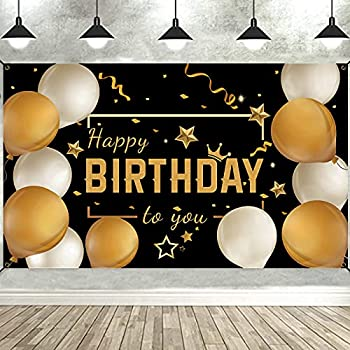 Bunny Chorus Happy Birthday Backdrop Banner Decorations for Party Supplies Black Gold 73  x 43  Balloons Birthday Signs Decor for Men Women
