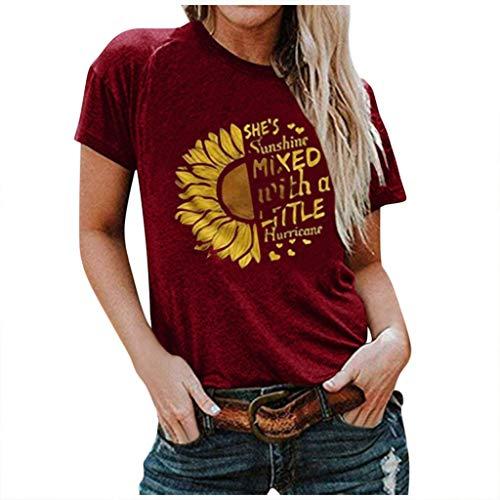 Floweworld🍒Grafische T-Shirts für Frauen lustige lässige O-Ausschnitt Sonnenblumendruck Kurzarm schlanke weiche Tunika Tops T-Shirt, Damen Bequeme und atmungsaktive Plus-Size-T-Shirts