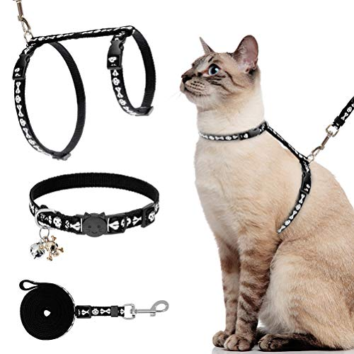 Cat Harness with Leash and Collar Set - Luminous Escape Proof Adjustable for Outdoor Walking Halloween H-shped Cat Harness with Skull Glow in The Dark,and Safety Buckle
