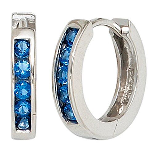 JOBO Damen-Creolen aus 925 Silber mit Zirkonia Blau